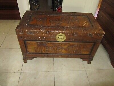 Large Vintage Hand Carved Dragon Foot Camphor Wood Box Chest Blankets