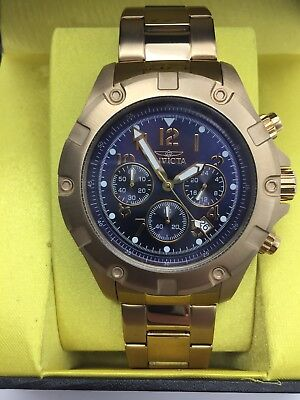 Invicta Mens 13620 Specialty Chronograph Blue Dial 18K Gold Ion-Plated Watch NEW