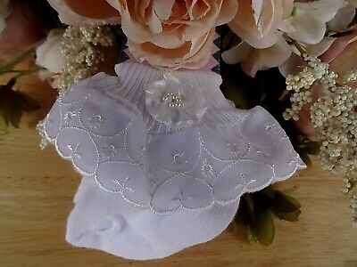 Baby Girl White Broderie Lace Flower Pearls Frilly Christening Party Socks 3-6m