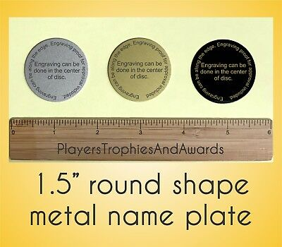 1.5 ROUND shaped metal NAME PLATE personalized 1.5 inch Laser engraved