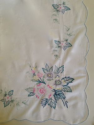 """Vintage Shabby Cottage Chic Floral Embroidered Tablecloth 78"""" x 66"""" Cotton"""