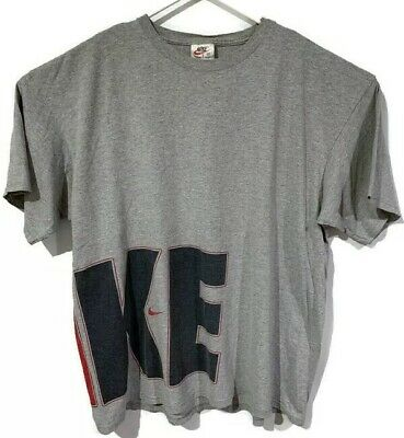 147815e7 Vintage Nike T Shirt Spellout Gray 90s Double Sided Short Sleeve Men Size XL
