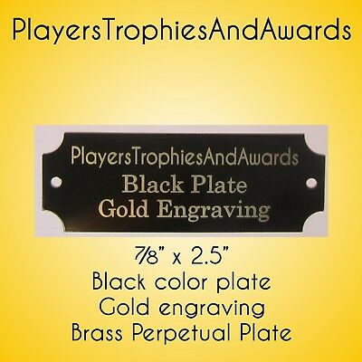 "7/8"" x 2 1/2"" Perpetual Name Plate Black - Gold engraving for perpetual plaque"