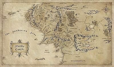 Map of Middle Earth Lord Of The Rings Poster | Sizes A4- A0 UK Seller| E212