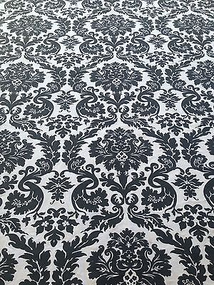 Black & White Small OVAL Tablecloth~Floral Medallion Motif~100% Cotton~EUC