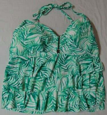 c5f224790a2 Catalina Womens Halter Tankini Top Size 3X Floral Stretch Bathing Suit  (22w-24w)