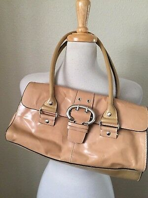 Worthington Genuine Leather Handbag Light Brown Magnetic Snap Length 13 1/2""