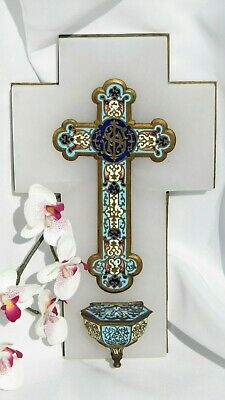 Antique French Gilt Enamel Champleve Holy Water Font Crucifix Marble Benitier