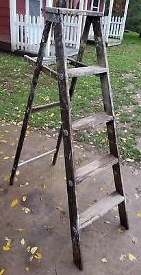 5 ft. Wood Ladder Step Stool Folding Rustic Antique Decor Pot Rack Barn Quilt