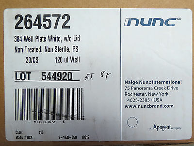 Nunc 384 Well Microplates White PS 120uL # 264572 Case 30 Plates