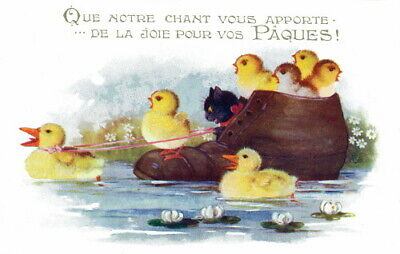 1921 Comique French Easter Chicks~Our Singing Brings U Easter Joy~NEW Note Cards