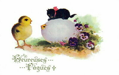 1920s Comique French Easter Chicks & Kitten~Easter Egg~Pansies~NEW Note Cards
