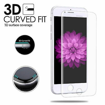 Full Cover Clear Tempered Glass Screen Protector 3D Curved Edge For iPhone 7