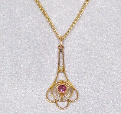 Antique Art Deco Gold Filled Seed Pearl Faceted Purple Glass Pendant Necklace