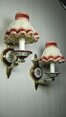 French Antique Hand Painted Porcelain Pair Limoges Wall Sconces Bronze Lights
