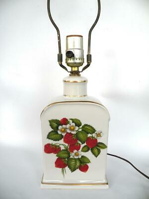 Farm House Country Style Display Accent Decorative Small Table Lamp Strawberry