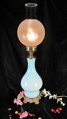 Antique French Moderator Style Table Oil Lamp Glass Vintage Electric Victorian