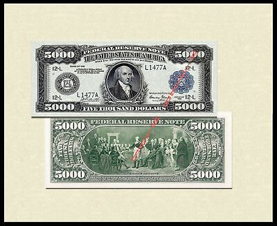 Reproduction 1918 $5000 Dollars US Paper Money Currency Bill Copy Note