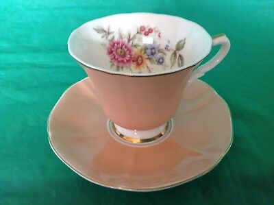 Cup & Saucer Bone China By Susie Cooper Beige Flowers White Inside The Cup