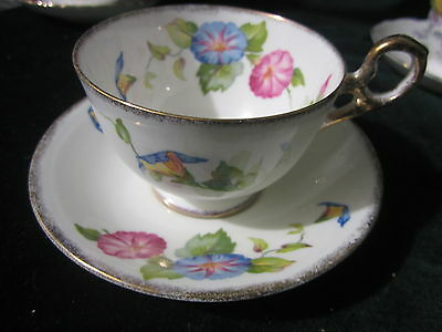 Old Royal Bone China Cup Saucer Floral Pink Blue Flowers Green Leaves Gold Trim