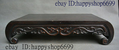 Old China Huang Huali Wood Carved Classical Wine Tea Table Desk Furniture Statue