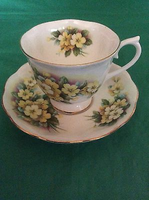 Royal Albert Bone China England Cup & Saucer Yellow Flowers Gold Trim