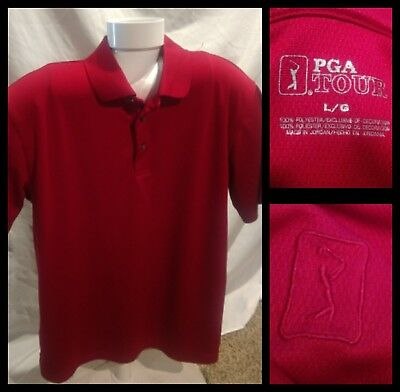 Mens PGA Tour Dry fit Style Polyester Short Sleeve Polo Shirt Size Large Red