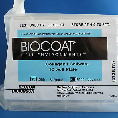 Pack of 5 BD BioCoat 12-Well Collagen I Cellware Plates # 354500