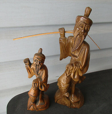 "2 - Vintage Asian Chinese Fisherman 12"" & 8"" Wood Carving Statues"