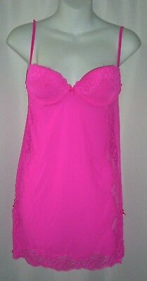 Victorias Secret Lingerie Bright Pink Bows Lace Nighty Boudoir Pin Up Sexy Sz S