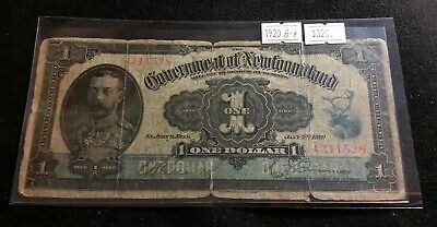 Government of Newfoundland 1920 One Dollar King George V Very Nice Rare Banknote