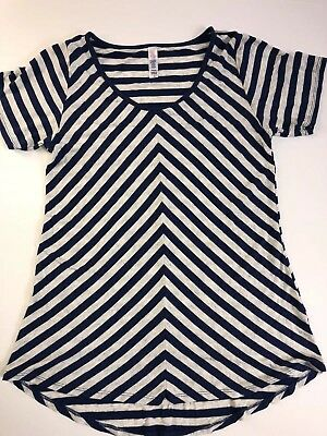 XS Lularoe Classic T Striped Navy Blue Gray Very Nice! Soft Loose Fitting