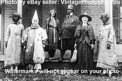 Old/Vintage Early 1900s Weird/Creepy/Scary Halloween Clown/Witch Costumes Photo