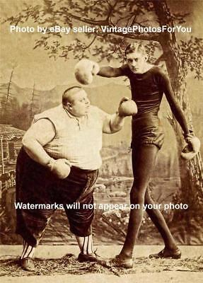 Vintage/Old/Antique 1800-1900's Weird/Strange/Boxing Side/Freak Show Act Photo