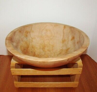 Primitive Urban Farm House Hand-Made & Hand-Turned Maple Treen Wood Bread Bowl