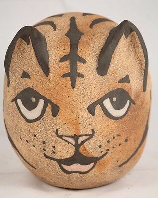 Ceramic Coin Bank Tiger Hand Made/Painted Pottery Collectible Clay Piggy Bank