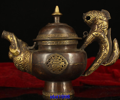 """6""""China Tibet antique old Pure copper manually make Ghee Teapot"""