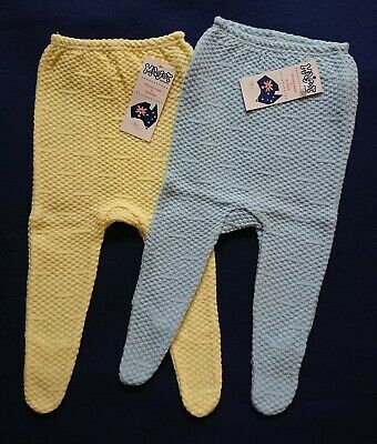 Vintage Baby Size One Knitted Wool Pants bulk buy 2 pairs. Brand New With Tags.
