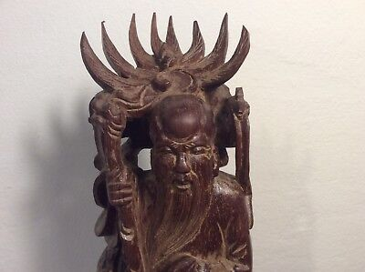 """Antique 40's Vintage Chinese Shou Lao Wooden Statue God of Long Figurine 13"""""""