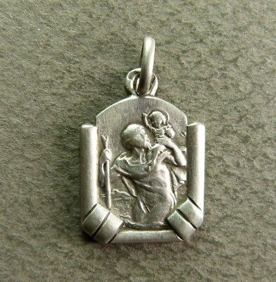 99175f24f93 French Art Deco Religious Silver Medal Pendant Saint Christopher Hallmarked