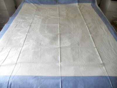 """Vintage 1950S White Damask Linen Table Cloth Blue Borders Swags Bows 61"""" X 55"""""""