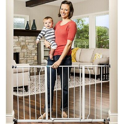 Easy Open And Step Extra Wide Baby Proof 47-Inch Metal Safety Stairways Gate