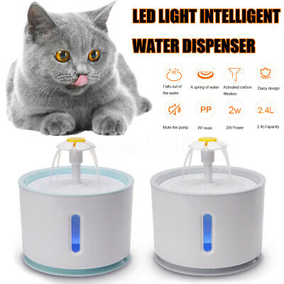 2.4L Electric Pet Dispenser USB LED Automatic Water Fountain Cat/Dog Drinking