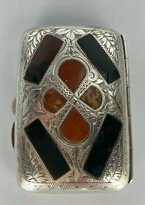 Superb Quality Sterling Silver & Agate Antique Cigarette Case Engraved Rare 1903