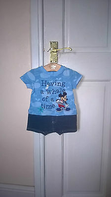 baby boy genuine disney store micky mouse romper / playsuit outfit  0-3 months