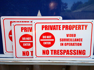Private Property No Trespassing Pack 3 Metal Safety Sign 300x225mm Fast Delivery