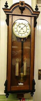 Vintage Twin Weight Driven Vienna Clock with Strike