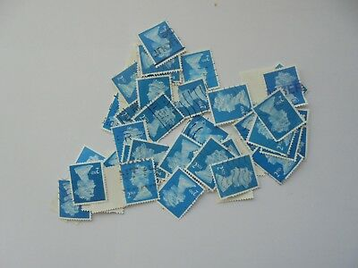 1000 x 2nd Class GB Stamps - Blue - Plain  - Used - Franked - Off Paper