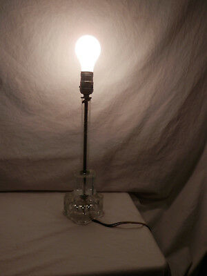 """Antique Hand Cut Floral & Leaf Lead Crystal Table Lamp Early 1900's 15 """""""