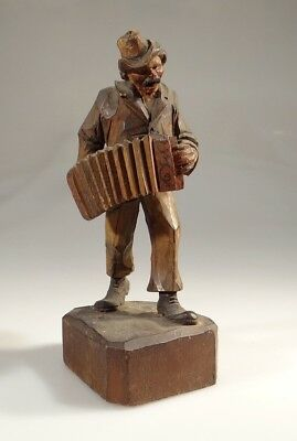 ANTIQUE BLACK FOREST MUSICIAN man FIGURE SUPERB CARVING